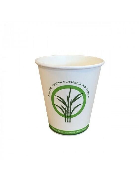 Bagasse/PLA koffiebeker 7oz/210ml/7,3cm Ø, verpakt per 50 stuks