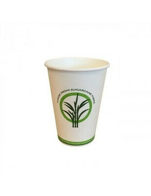 Bagasse/PLA koffiebeker 7,5oz/225ml/70mm Ø, verpakt per 100 stuks