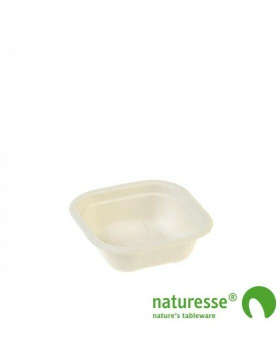 Bagasse maaltijdbak wit 240ml/130x130x42mm Verpakt per 500 stuks