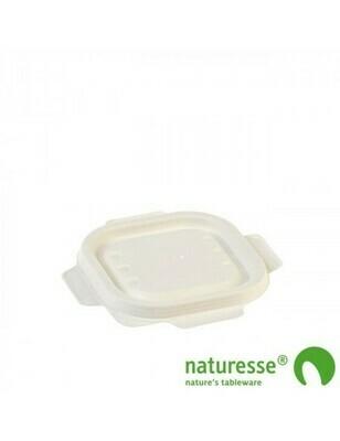 Bagasse deksel wit voor maaltijdbak 240ml/350ml Verpakt per 125 stuks