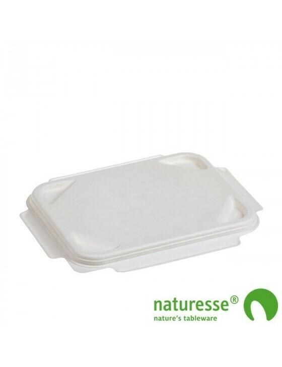 Bagasse deksel wit voor menutray 1/2/3-vaks Verpakt per 125 stuks