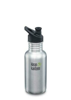 Klean Kanteen  Classic drinkfles, Sport cap, 18oz/532ml, geborsteld RVS.