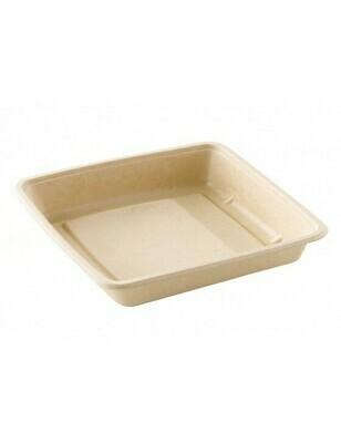 Bagasse box 1000ml/223x223x28mm bruin Verpakt 300 stuks