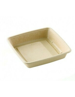 Bagasse box 1500ml/223x223x48mm bruin  Verpakt 300 stuks