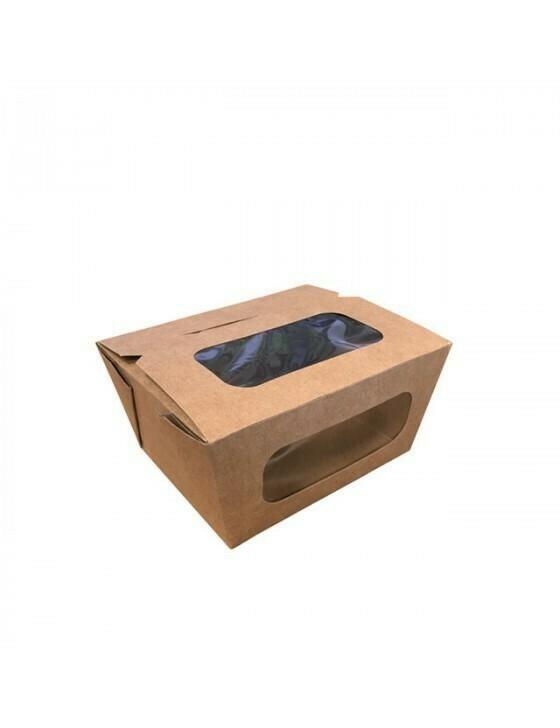 FSC® kraft/PLA coated lunchbox+venster 110x90x63mm Verpakt per 50 stuks