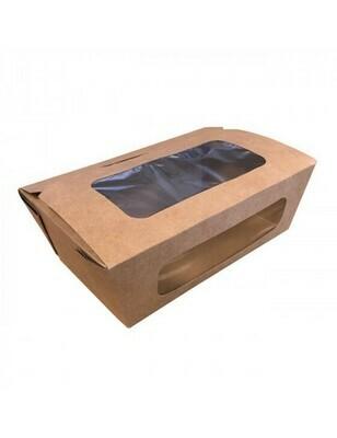 FSC® kraft/PLA coated lunchbox+venster 16x10x6cm, verpakt per 50 stuks