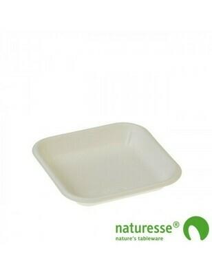 Bagasse fruittray wit 136x136x22mm 3501 Verpakt per 1000 stuks