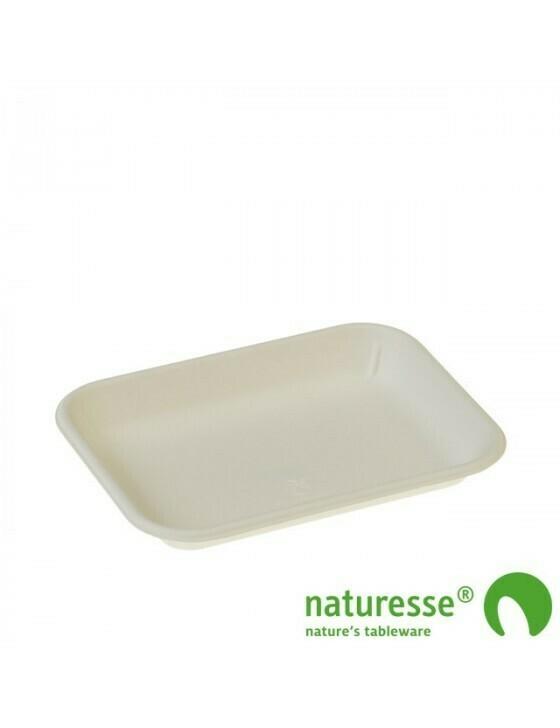 Bagasse fruittray wit 180x136x22mm 3502 Verpakt per 1000 stuks