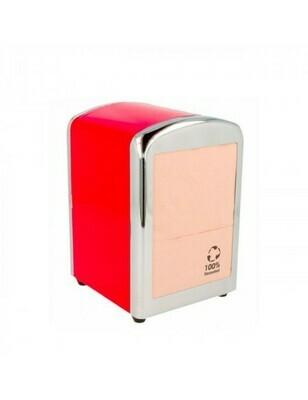 Servet dispenser voor mini servet rood RVS, verpakt per 1 stuk