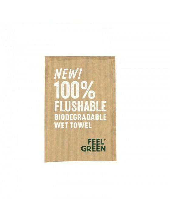 Verfrissingsdoekje natural 16x20cm/sachet 6,8x10cm, verpakt per 300 stuks in een dispenserdoos