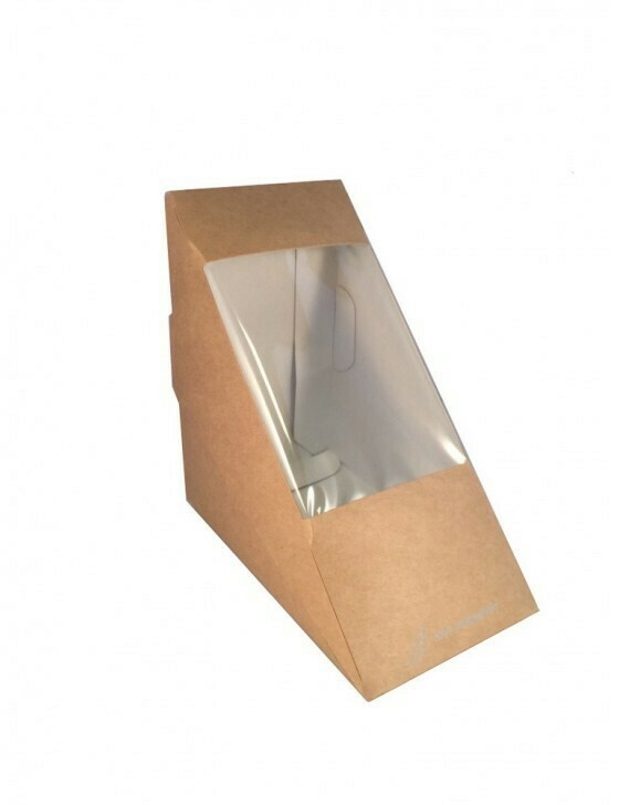 FSC® Kraft/PLA sandwichbox 123x123x72mm Verpakt per 50 stuks