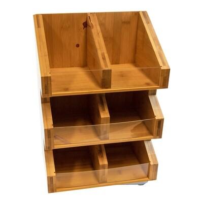 Bamboe organizer thee/melk/suiker 6-vaks 28x18x40cm Verpakt per 1 stuk