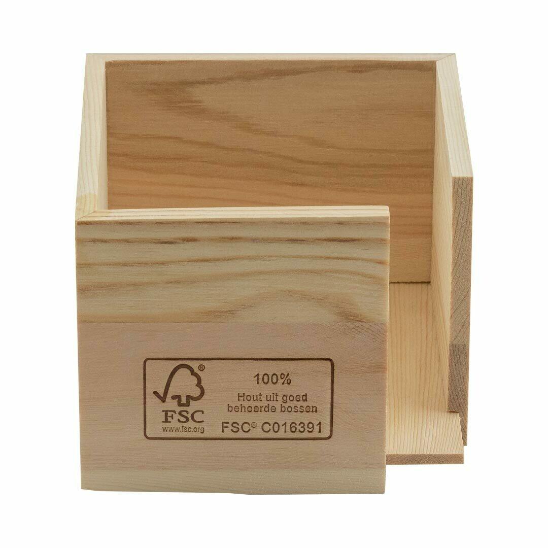FSC® houten servethouder voor 20x20cm ¼ vouw, verpakt per 24 stuks