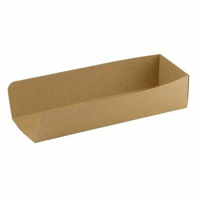 FSC® kraft/PLA hotdog tray 230x75x50mm\ Verpakt per 50 stuks