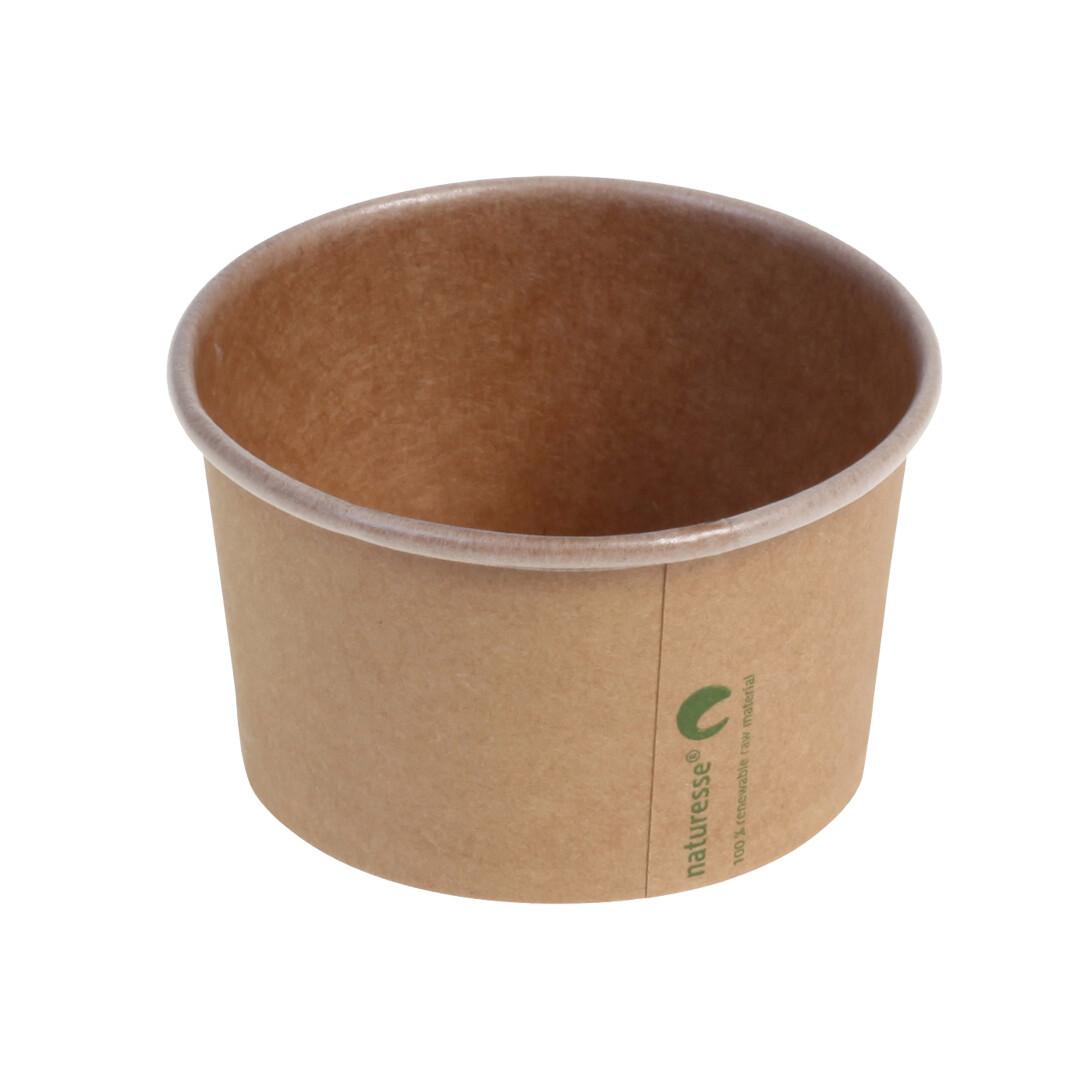 Kraft/PLA foodcontainer 12oz/360ml/105mm Ø x 61mm Verpakt per 50 stuks