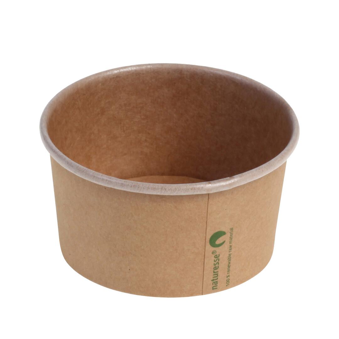 Kraft/PLA foodcontainer 5oz/150ml/85mm Ø x 51mm Verpakt per 50 stuks