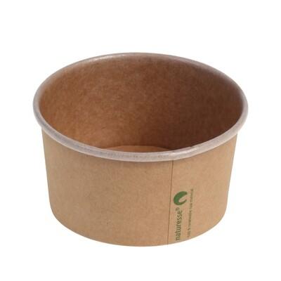 Kraft/PLA foodcontainer 8oz/240ml/96mm Ø x 51mm Verpakt per 50 stuks