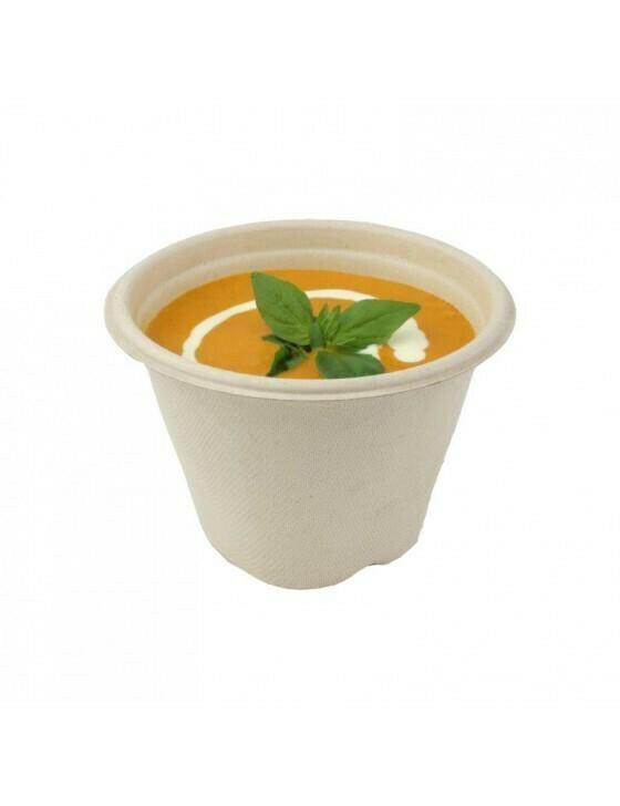 Bagasse soepbeker 500ml/13cmØ x 9cm hoog, verpakt per 1000 stuks