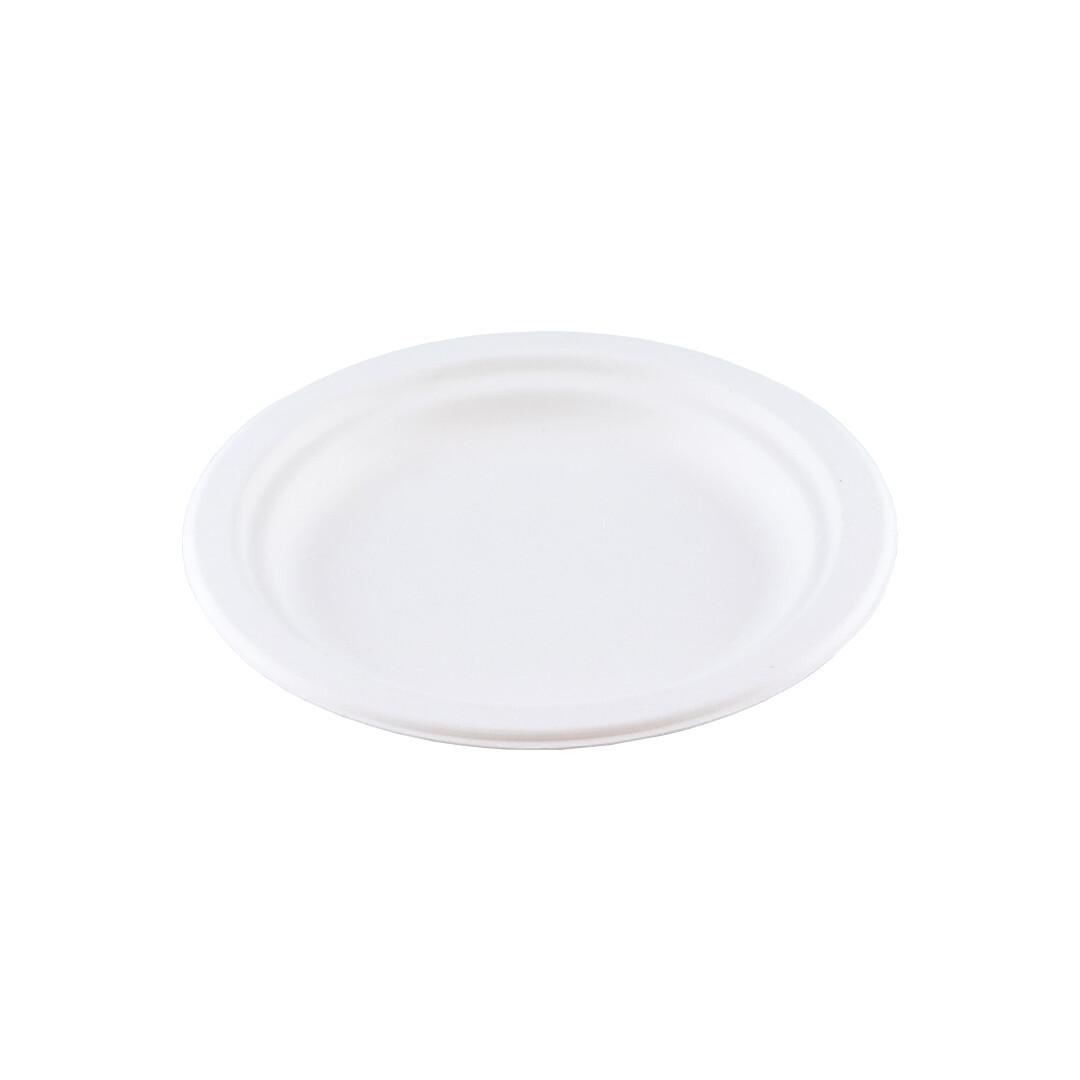 Bagasse bord 15,5cm Ø Verpakt per 50 stuks