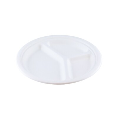 Bagasse bord 23cm Ø 3-vaks Verpakt per 500 stuks