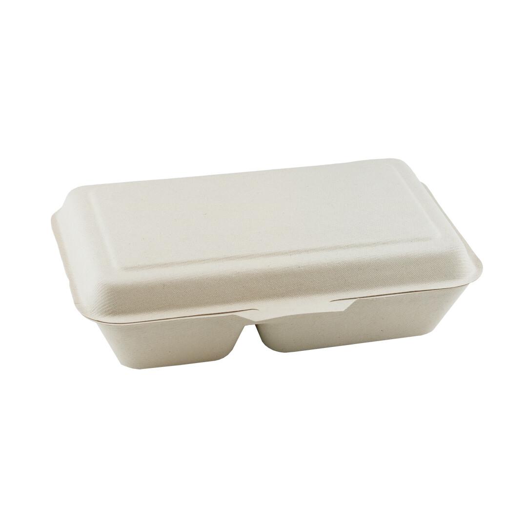 Bagasse 2-vaks menubox 24x16x6cm/1000ml bruin 2-vaks Verpakt 50 stuks