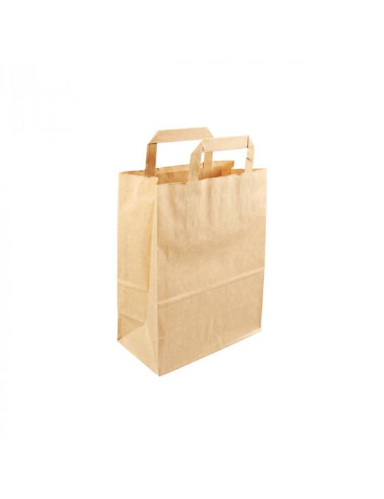 Kraftpapieren draagtas/blokbodemtas bruin 22+10x28cm, verpakt per 250 stuks
