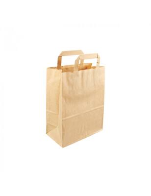 Kraft papieren draagtas bruin 22+10x28cm  Verpakt per 500 stuks