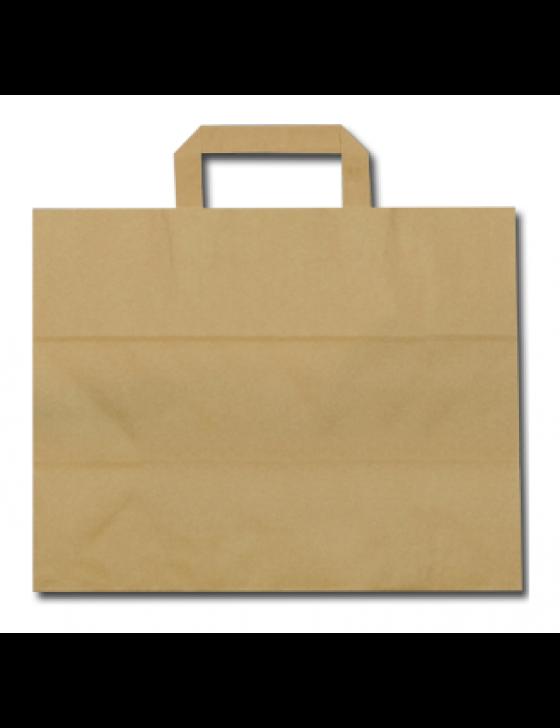 Kraftpapieren draagtas/blokbodemtas bruin 32+17x27cm, verpakt per 250 stuks