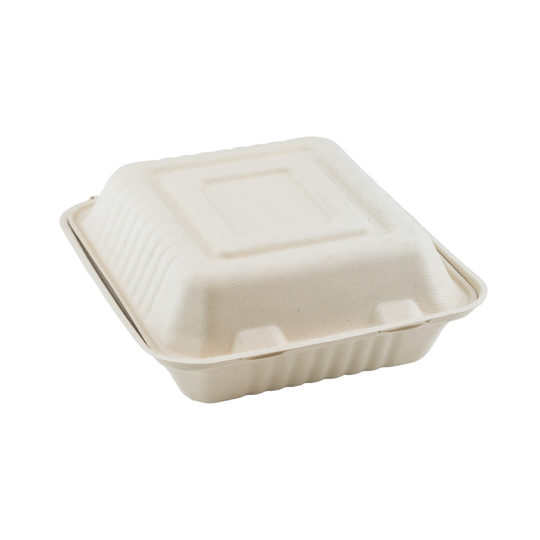 Bagasse 1-vaks menubox XL 235x195x75mm Verpakt per 250 stuks