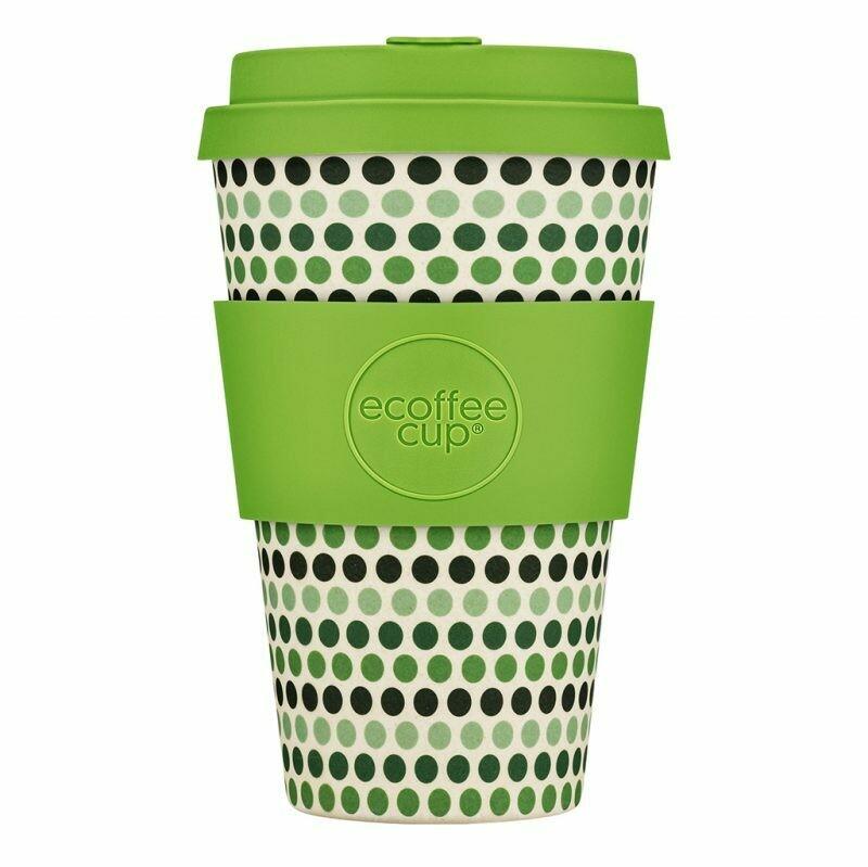 """Ecoffee cup """"Green Polka"""" 14oz/400ml"""