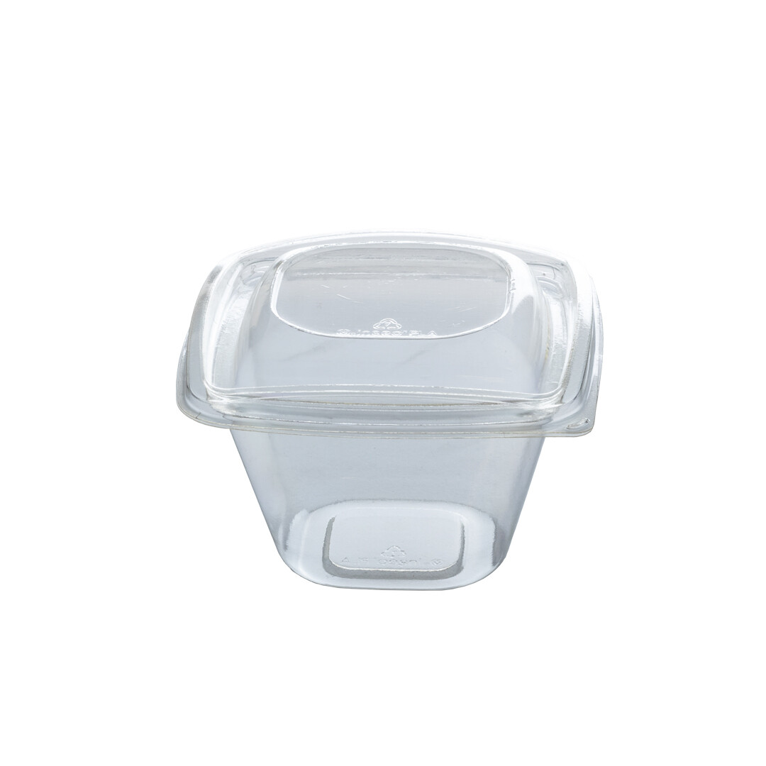 PLA saladebakje + deksel transparant 480ml, verpakt per 360 stuks