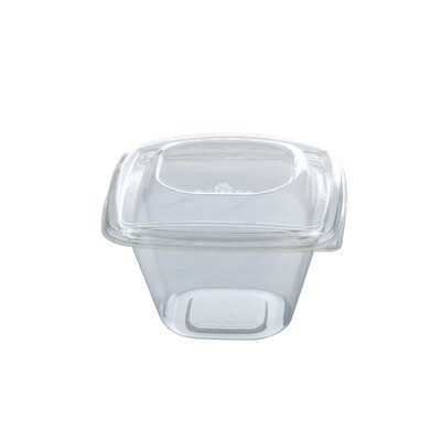 PLA saladebakje + deksel transparant 480ml, verpakt per 40 stuks