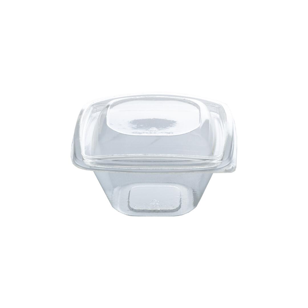 PLA saladebakje + deksel transparant 360ml, verpakt per 360 stuks