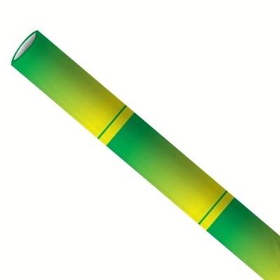 Papieren rietjes 6x200mm bamboe groen, verpakt per 5000 stuks