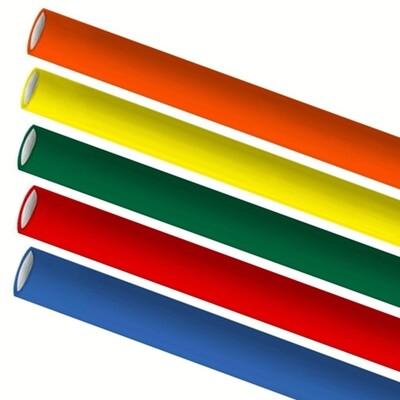 Premium papieren rietjes 6x200mm 5 kleuren mix assortiment, verpakt per 5000 stuks