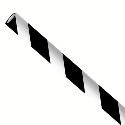 """Papieren rietjes 6x197mm zwart/wit """"swirl"""", verpakt per 5000 stuks"""