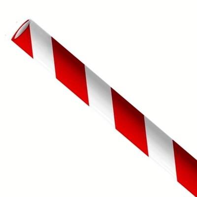 Papieren rietjes 8x240mm rood/wit