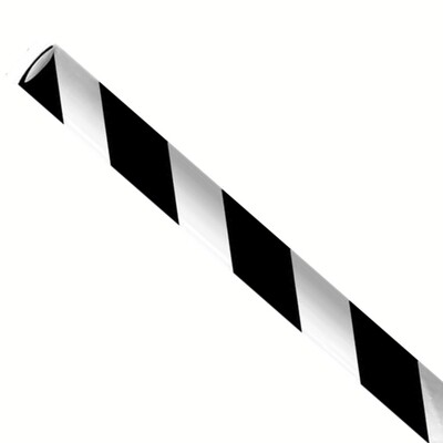 Papieren rietjes 8x240mm zwart/wit