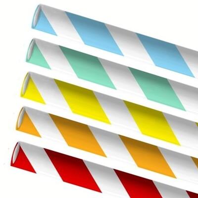Premium papieren rietjes 8x240mm 5 kleuren Swirlmix, verpakt per 5000 stuks