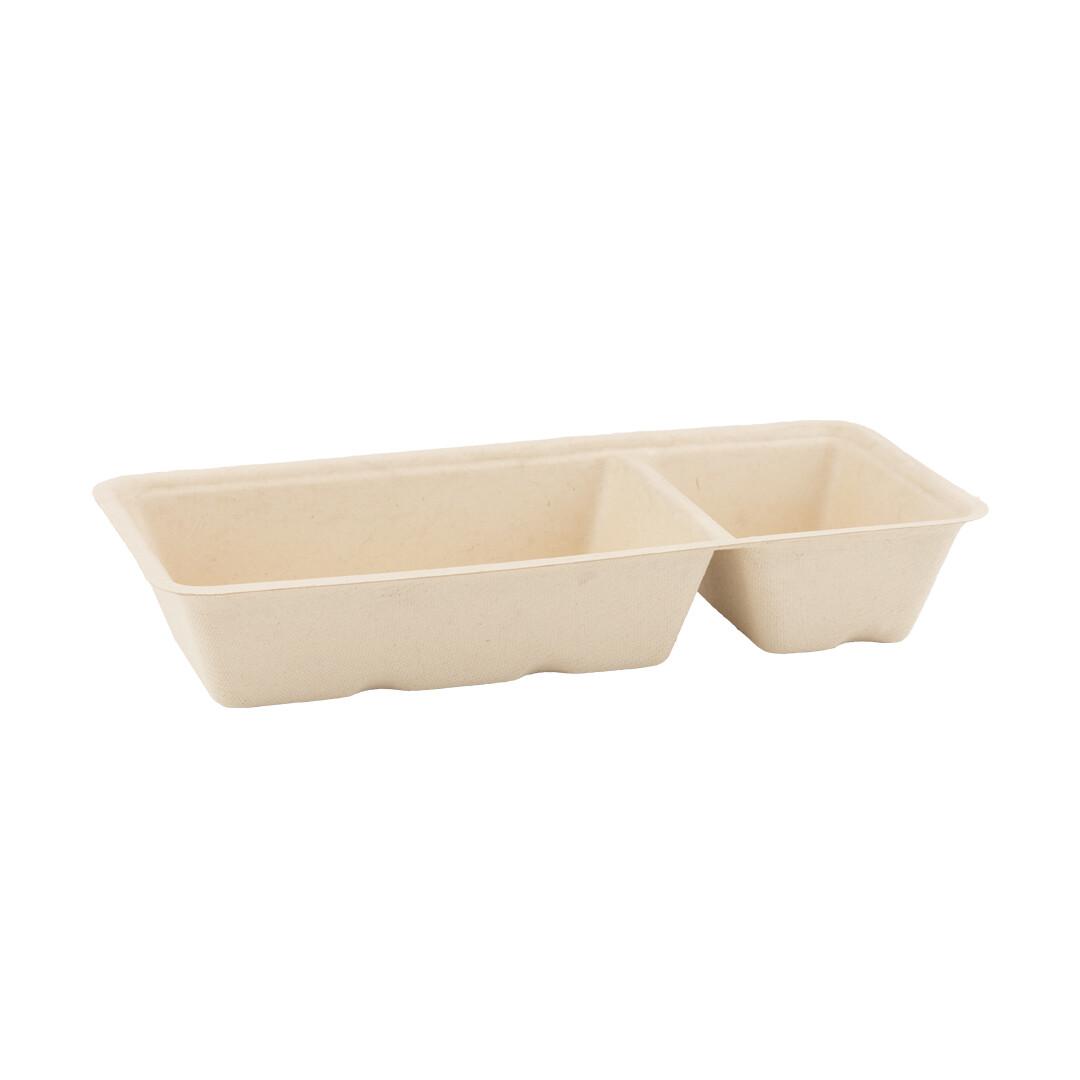 Bagasse snackbakje A20 bruin (A14+1), verpakt per 50 stuks