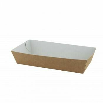 "Papieren snackbakjes ""Basic"" A14, Bruin/Wit Karton | 155x85x38mm, verpakt per 500 stuks"