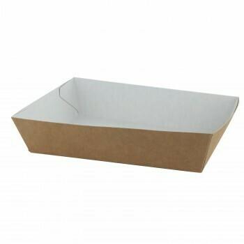 "Papieren snackbakjes ""Basic"" A5, Bruin/Wit Karton   105x33x30mm, verpakt per 500 stuks"