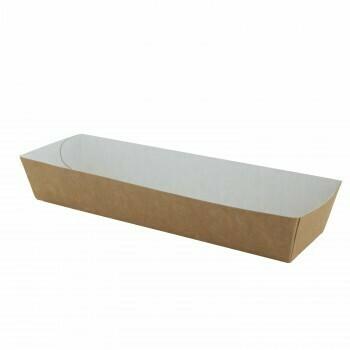 """Papieren snackbakjes """"Basic"""" A16B, Bruin/Wit Karton   185x50x35mm, verpakt per 500 stuks"""
