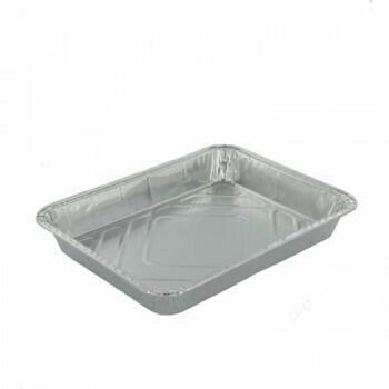 1-vaks Menuschaal laag, Aluminium 22,7x17,8x3cm, verpakt per 1000 stuks