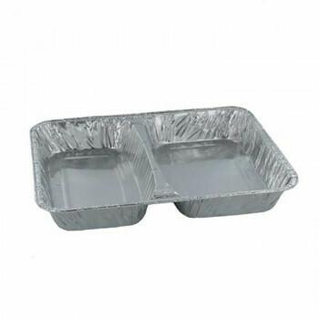 2-vaks Menuschaal laag (2-vaks), Aluminium 22,7x17,8x3cm, verpakt per 1000 stuks