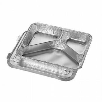 3-vaks aluminium  menuschalen met deksel, 760 ml 3 cm x 17,7 cm x 22,5 cm, verpakt per 300 stuks