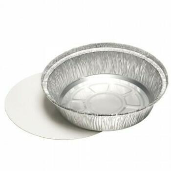 Aluminium schalen met inlegdeksels, PP gelamineerd rond 770 ml Ø 18,2 cm · 4 cm, verpakt per 500 stuks