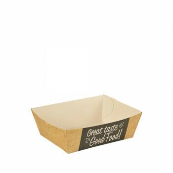 Snackbakje A7 karton (Good Food) | 9 cm x 7 cm x 3,5 cm. verpakt per 500 stuks