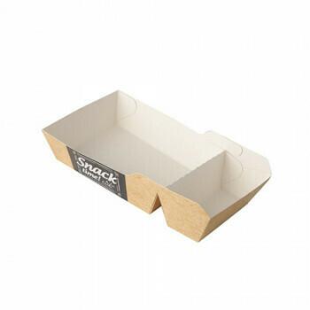 Snackbakje A7 + 1 (A23) karton (Good Food) | 14 cm x 7 cm x 3,5 cm. verpakt per 600 stuks