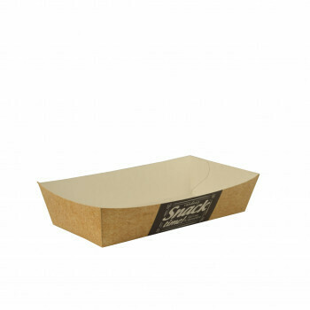 Snackbakje A13 karton (Good Food) | 15 cm x 7 cm x 3,5 cm. verpakt per 750 stuks
